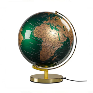 "Globe Light 12"", Fir Green & Brass"